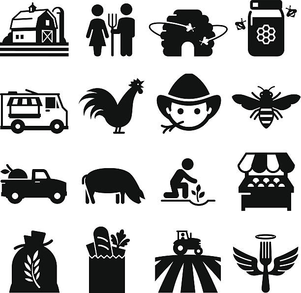 Farmer's Market Icons - Black Series Farmer'€™s market and other agricultural icons. Professional vector icons for your print project or Web site. See more in this series.  farmer stock illustrations