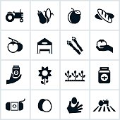 Black Farmers' Market related Icons. All of the icons represent farmers market themes and include a farm, tractor, produce, vegetables, crops and other farm grown and hand made items.