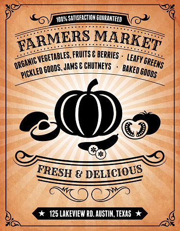 Farmers' Market Invitation on royalty free vector Background Poster