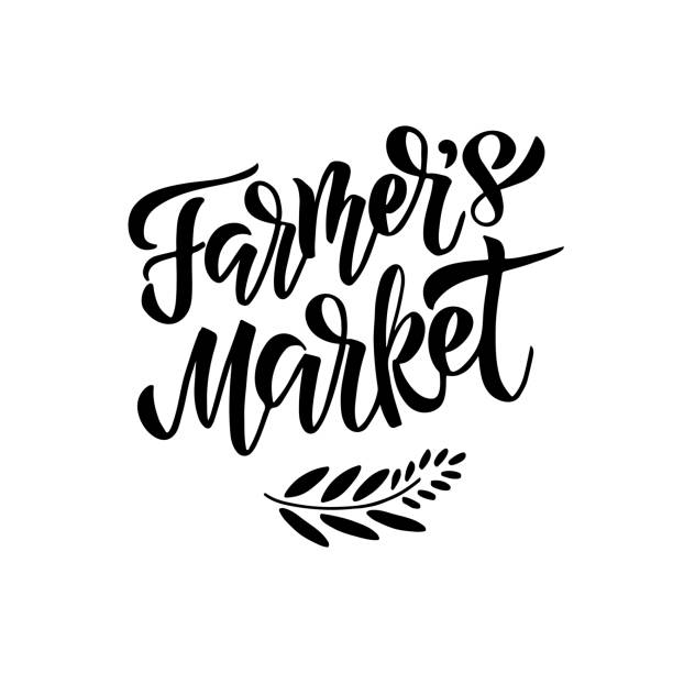 Farmers Market lettering Farmers market - hand drawn lettering. Modern brush logo. Unique typography design for advertising, poster, flyer, invitation, banner. Vector illustration. Isolated on white background. farmer's market stock illustrations