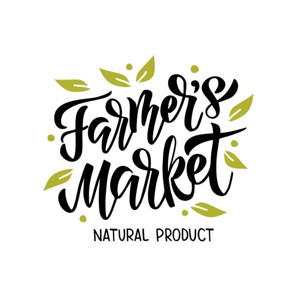 Farmer's Market lettering Farmer's market - hand drawn lettering with leaf. Modern brush logo. Unique typography design for advertising, poster, flyer, invitation, banner. Vector illustration isolated on white background. farmer's market stock illustrations