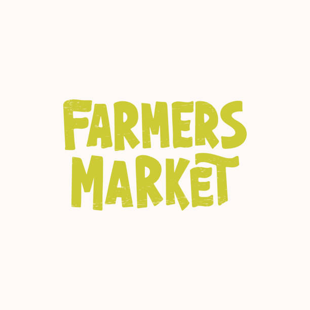 Farmers Market lettering Farmers market - hand drawn lettering. Modern brush. Unique typography design for advertising, poster, flyer, banner. Vector illustration farmer's market stock illustrations