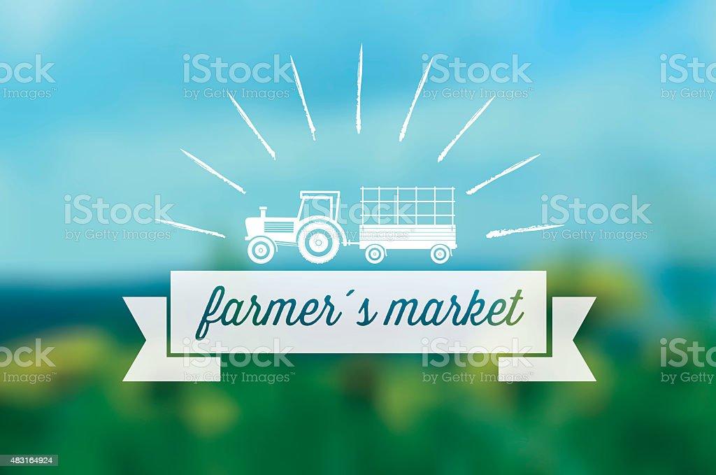 farmers market line symbol on blurred background vector art illustration