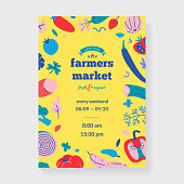 Farmer's market placard, vector layout for banner or poster with food illustration for agricultural fair selling organic fruit and vegetables, modern bright color design, announcement ad for farmhouse