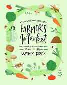 Farmer's market event template for organic food and farming product sale with green vegetable icons in hand drawn style.