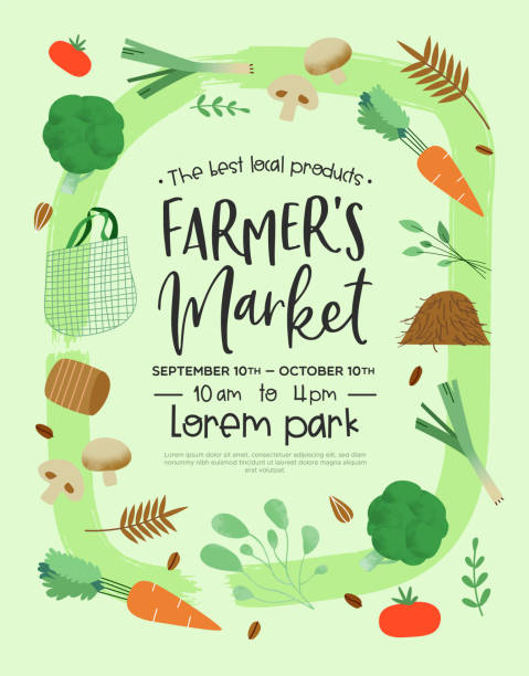 Farmers market poster template of green vegetables Farmer's market event template for organic food and farming product sale with green vegetable icons in hand drawn style. farmer's market stock illustrations