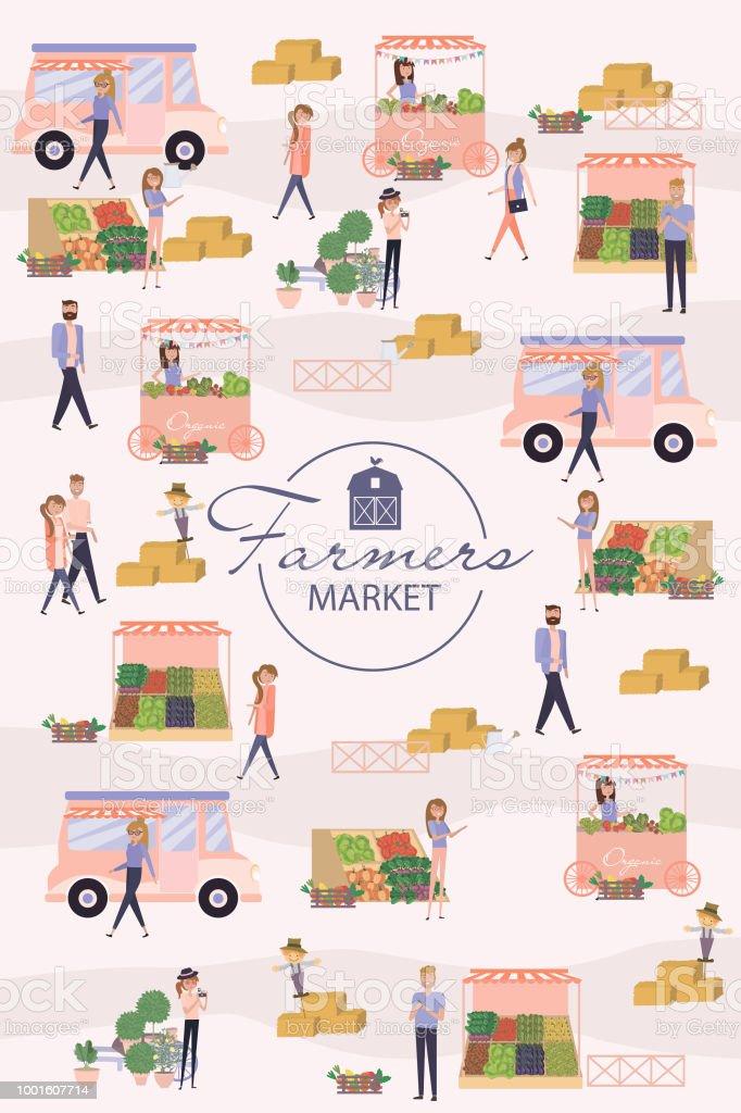 Cartaz de mercado do agricultor - ilustração de arte em vetor