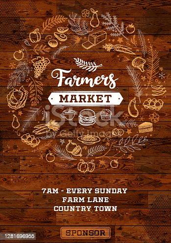 istock Farmers market poster 1281696955