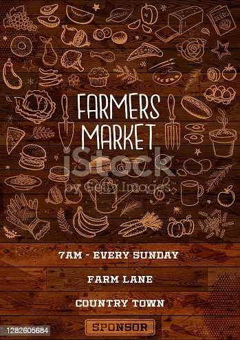 istock Farmers market poster 1282605684