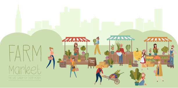 illustrazioni stock, clip art, cartoni animati e icone di tendenza di farmer's market poster with people selling and shopping at walking street, organic fruits and vegetables, cartoon flat design - mercato frutta donna