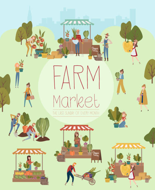 Farmer's market poster with people selling and shopping at walking street, organic fruits and vegetables, cartoon flat design Farmer's market poster with people selling and shopping at walking street, organic fruits and vegetables, cartoon flat design. Editable vector illustration farmers market illustrations stock illustrations