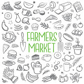 Hand drawn illustrations of country farmers market icons.