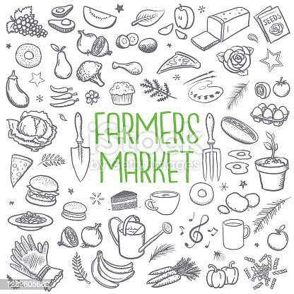 istock Farmers market sketched icons 1282605662