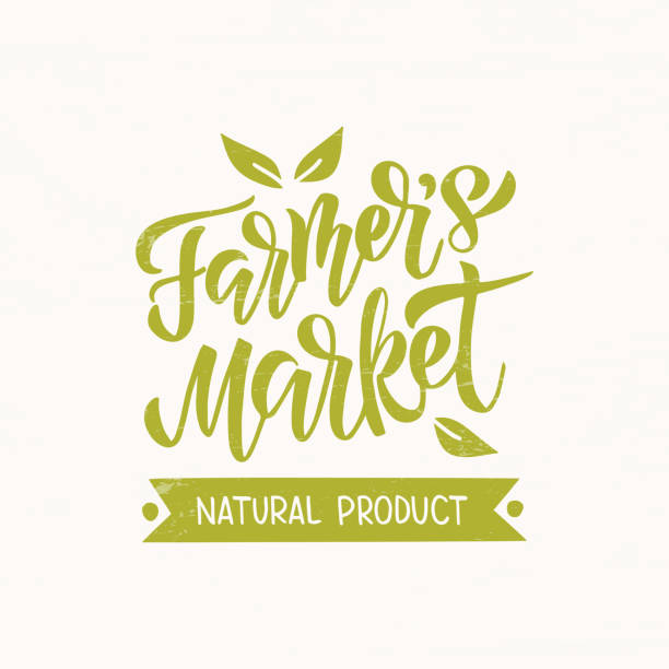 Farmer's Market Farmers market - hand drawn lettering with leaf. Modern brush. Unique typography design for advertising, poster, flyer, invitation, banner. Vector illustration on beige background. farmer's market stock illustrations