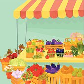 Assorted vegetables and fruits at the Farmer's market. Vector. EPS 8.