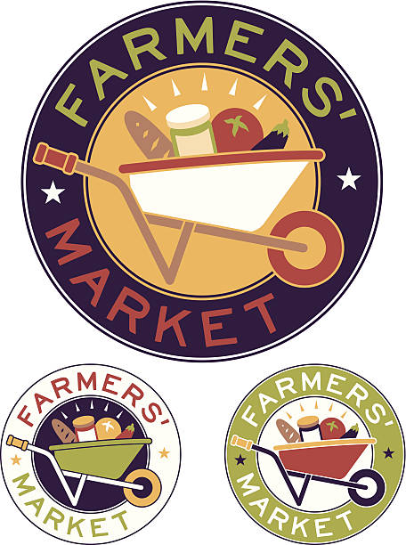 Farmers Market Farmers' Market badges with wheelbarrow and homemade goods. EPS 10 file. No transparency used. farmer's market stock illustrations