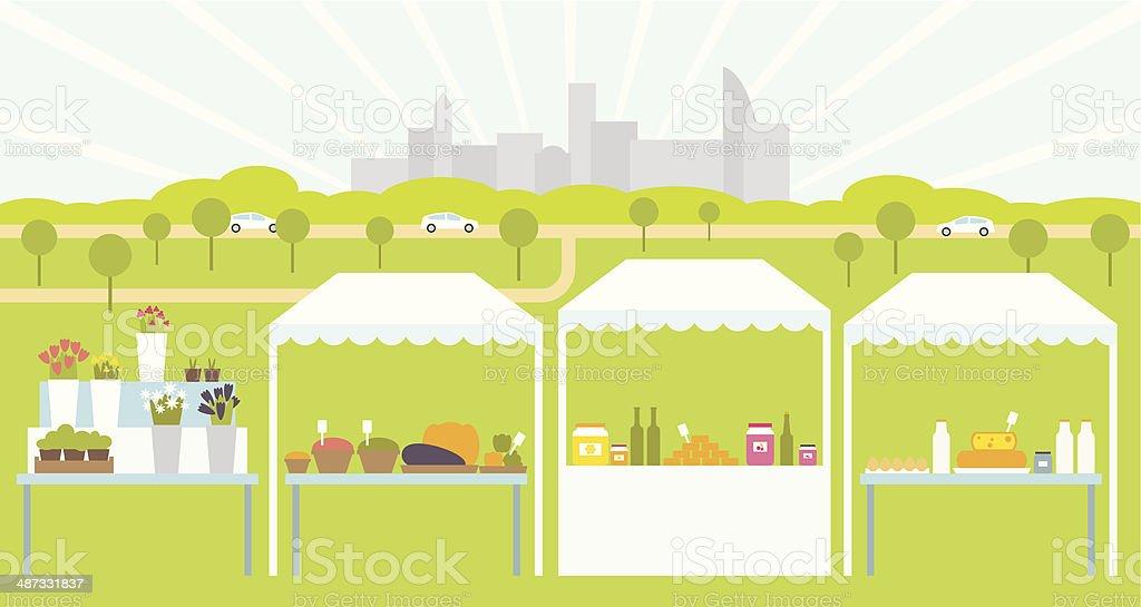 Farmers Market vector art illustration