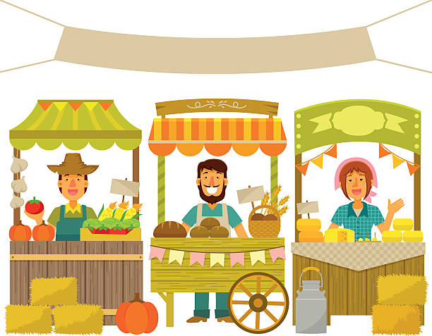 farmers market farmers selling their products on wooden stalls agricultural fair stock illustrations