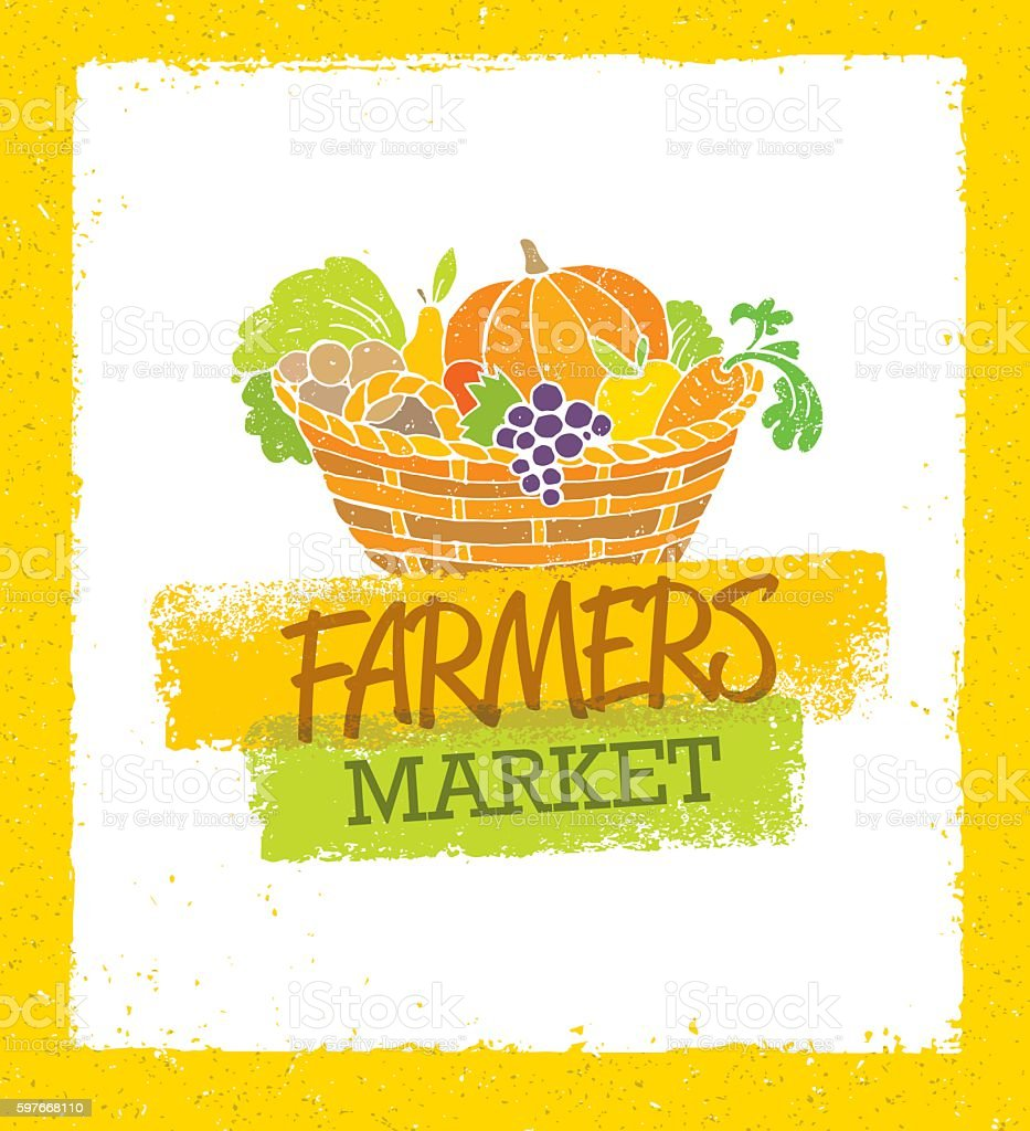 Farmers Market vector art illustration