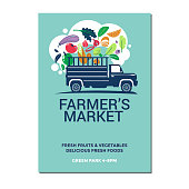 Farmer's Market Vector Illustration of Farmer's Tractor for Poster Flyer Invitation
