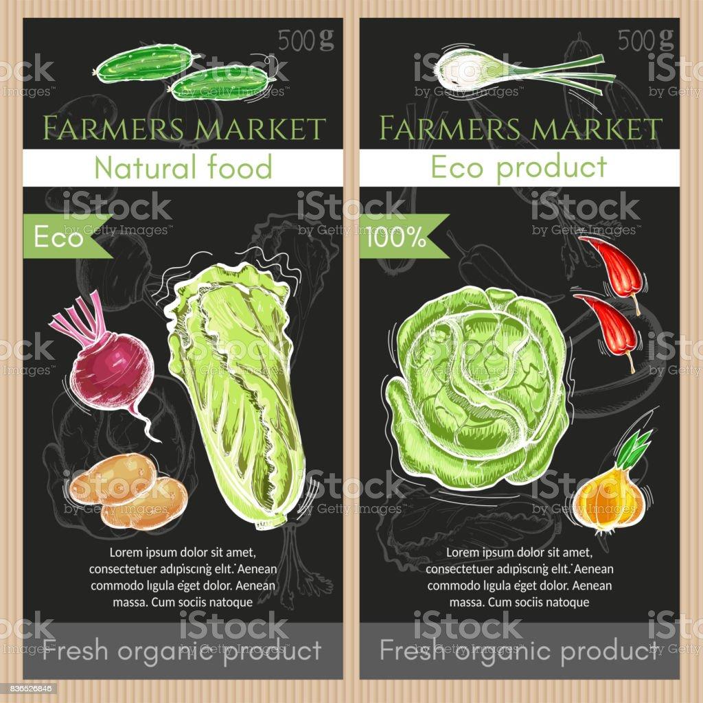 Farmers market vegetables banner. Fresh potato, carrot, onions, pepper. Healthy nutrition concept. Fresh vegetarian healthy food of vector chalk sketch vector art illustration