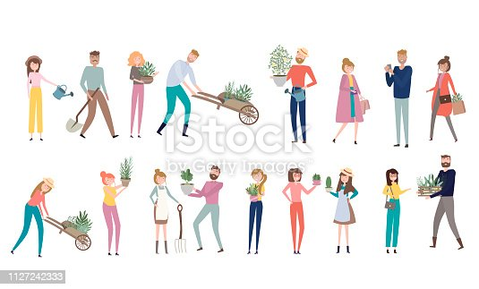 Farmers people in different positions of the body, working, talking to each other, cartoon flat design. Editable vector illustration