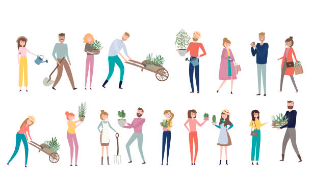 ilustrações de stock, clip art, desenhos animados e ícones de farmers people in different positions of the body, working, talking to each other, cartoon flat design. editable vector illustration - gardening