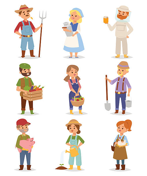 Farmers people vector set. Vector set of village farmers people with organic food, flowers and plants. Summer character vegetables garden harvest farmers people. Agriculture farmers people work plant nature gardening. farmer stock illustrations