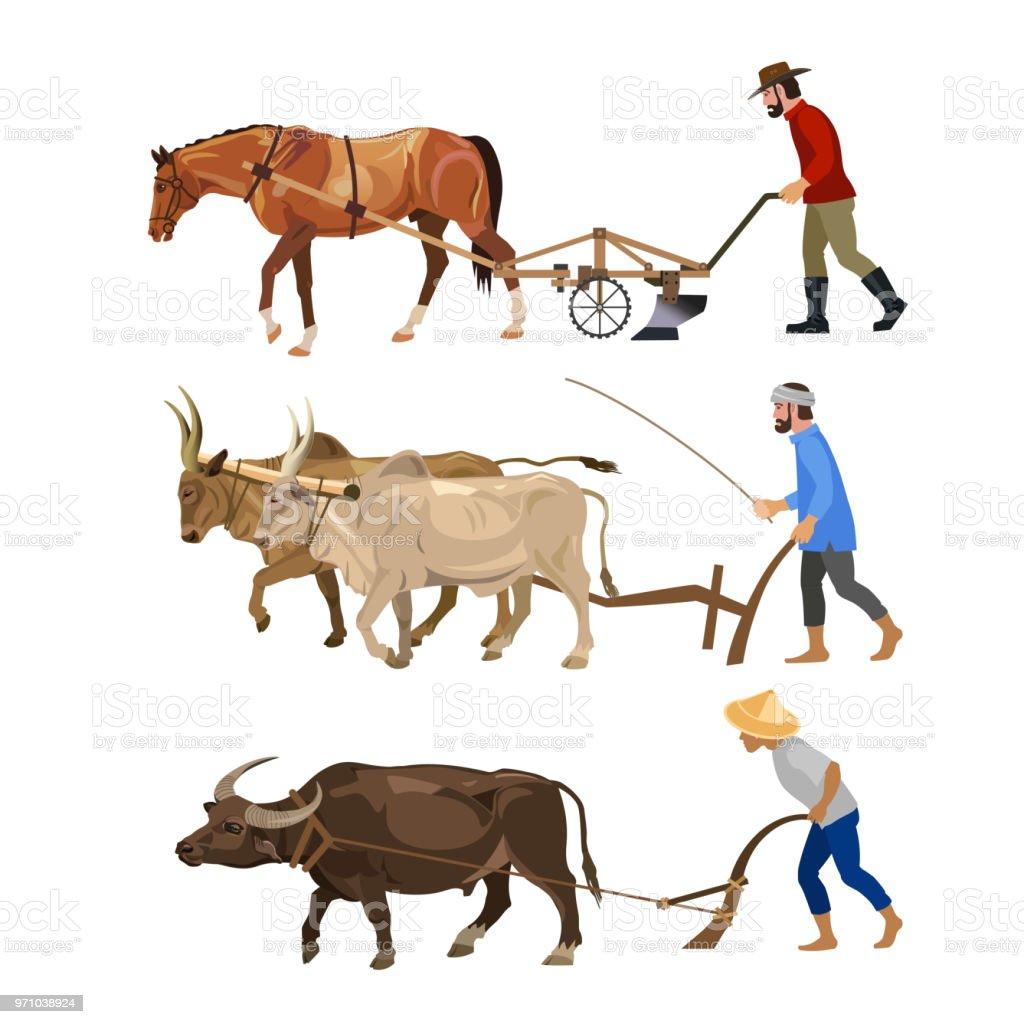Ilustración de Los Agricultores Ara La Tierra Con Animales y más ...