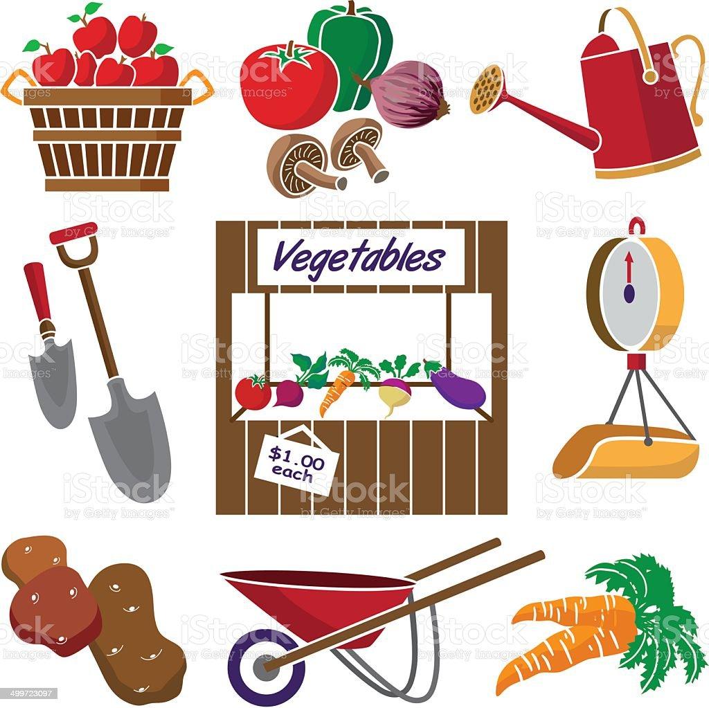 farmer's produce kiosk royalty-free stock vector art
