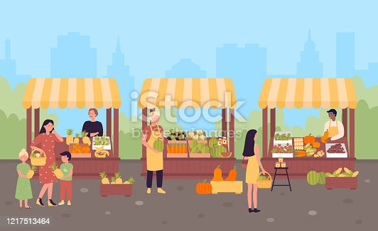 Farmers street market in city flat vector illustration concept. People show and sell own growth natural eco products, fresh food at open place under tents on silhouettes town skyscrapers background