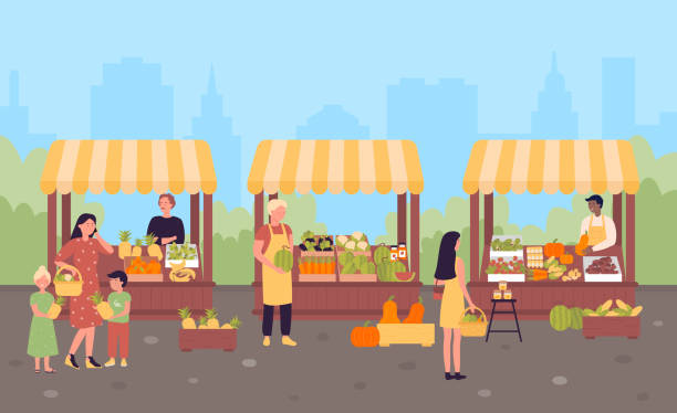 illustrazioni stock, clip art, cartoni animati e icone di tendenza di farmers street market in city flat vector illustration concept, town background - mercato frutta donna