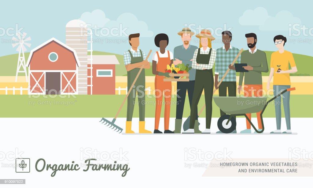 Farmers team working together vector art illustration