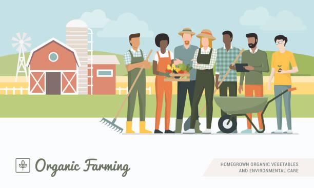 Bauern-Team zusammenarbeiten – Vektorgrafik