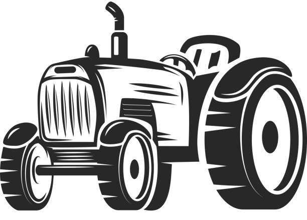 Royalty Free Farmer Driving Tractor Clip Art, Vector