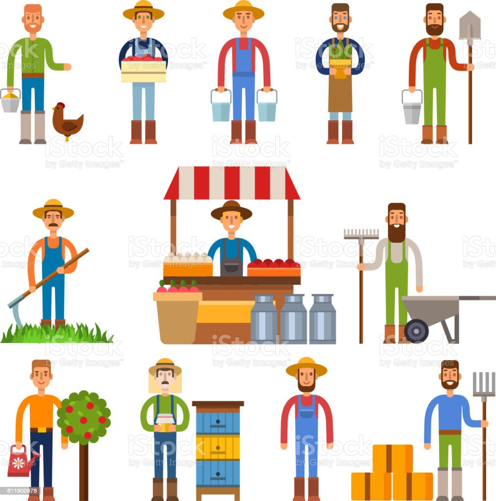 Farmers vector illustration - Illustration vectorielle