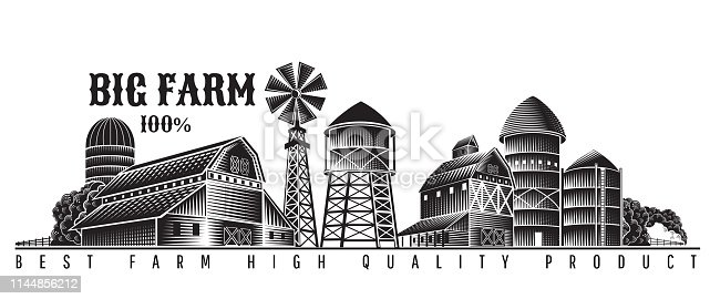 Farmer's windmill, barn and farm building retro style vintage label isolated on white
