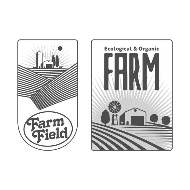 Farmers with fields badges vector art illustration