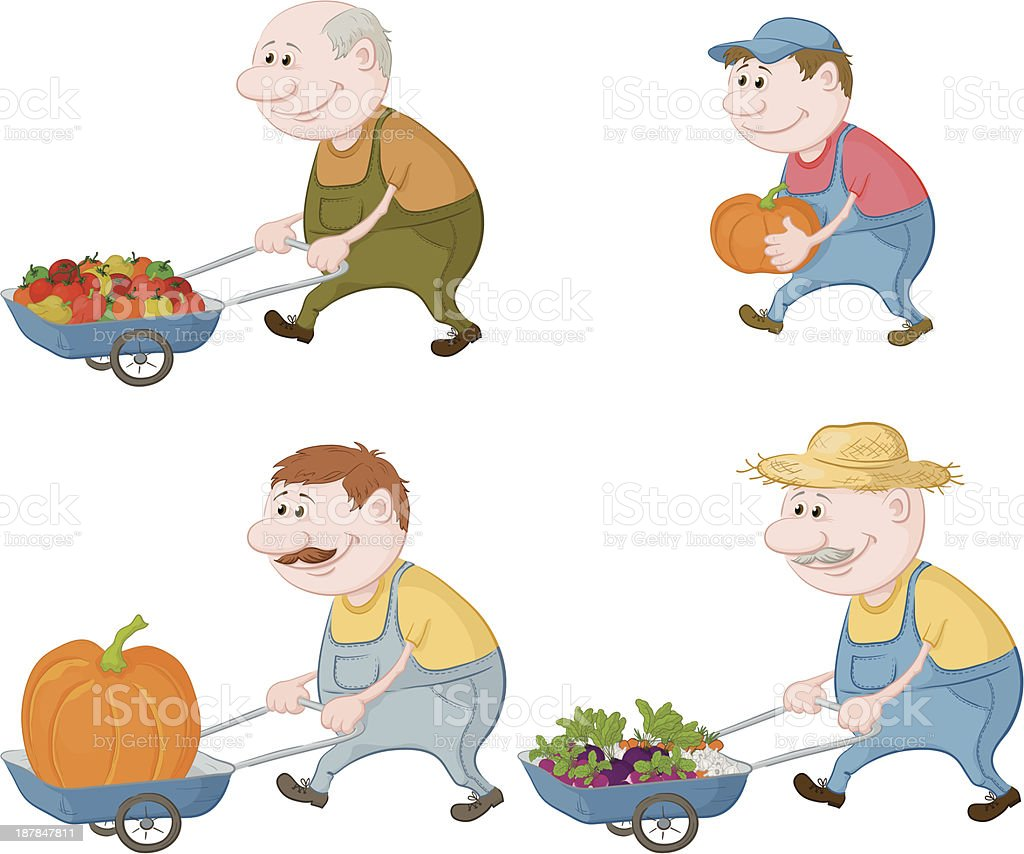 Farmers with vegetables and pumpkins royalty-free stock vector art