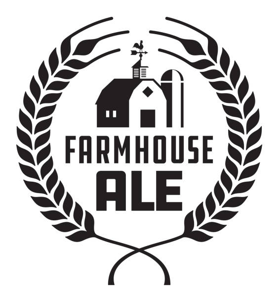 Farmhouse Ale Badge or Label. Craft beer vector design features wheat or barley wreath with barn, silo and weather vane. weather vane stock illustrations