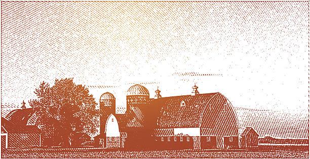 фермерский дом и золотой закат - граттаж stock illustrations