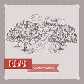Farmhouse and orchard hand drawn vector sketch. Great for farmer product and travel ads, brochures, labels.