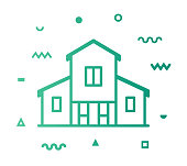 Farmhouse outline style icon design with decorations and gradient color. Line vector icon illustration for modern infographics, mobile designs and web banners.