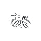 Farmhouse on the field line icon. Outline illustration of landscape, vector linear design isolated on white background. Farm icon template, element for agriculture business, line icon object.