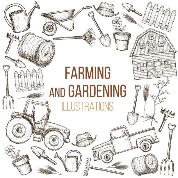 stockillustraties, clipart, cartoons en iconen met landbouw landbouw instrumenten - kruiwagen met gereedschap