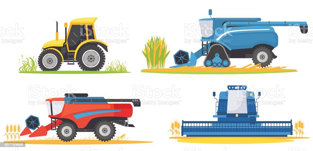 Farming agricultural machines and farm vehicles set vector art illustration