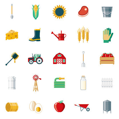 Farming & Agriculture Flat Design Icon Set
