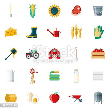 istock Farming & Agriculture Flat Design Icon Set 993263498