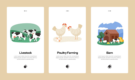 Farming and Agriculture Concept Onboarding Mobile App Page Screen with Flat Icons. UX, UI Design Template Vector Illustration