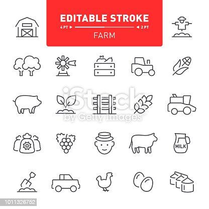 Farm, agriculture, harvest, outline, editable stroke, icon, icon set, silos, barn, planting
